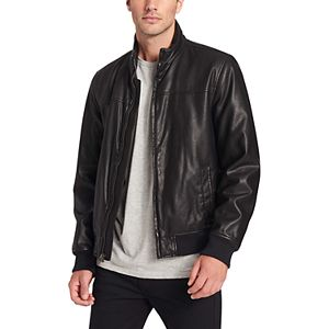 Men's Dockers® Faux Leather Classic Stand Collar Bomber Jacket