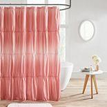 Intelligent Design Josie Ruched Ombre Printed Shower Curtain