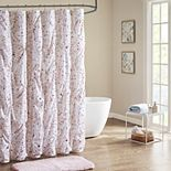 Intelligent Design Lara Pintucked Metallic Printed Shower Curtain
