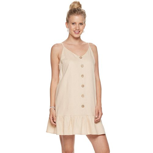Juniors' AS U WISH Sleeveless Button Front Dress