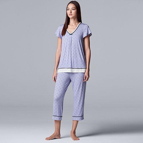 Women's Simply Vera Vera Wang Short Sleeve Top & Capri Set