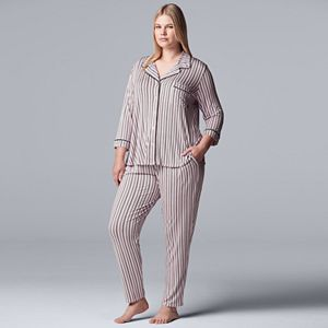 Women's Plus Size Simply Vera Vera Wang 3/4 Sleeve Notch Pajama Set