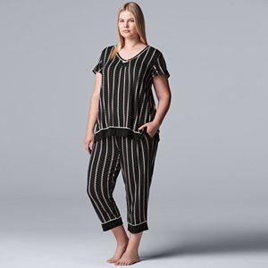 Women's Plus Size Simply Vera Vera Wang Short Sleeve Top & Capri Sleep Set
