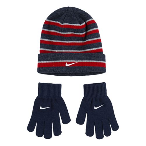 Boys 4-20 Nike 2-Piece Foldover Beanie & Gloves Set