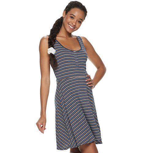 Juniors' SO® Snap Henley Skater Dress