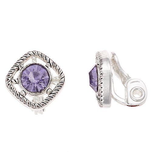 Napier Silver & Purple Tone Button Stone Clip-on Earrings