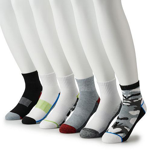Men's Tek Gear® 6-pack Cushioned Performance Quarter Socks
