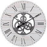 FirsTime Faux Shiplap Gears Wall Clock
