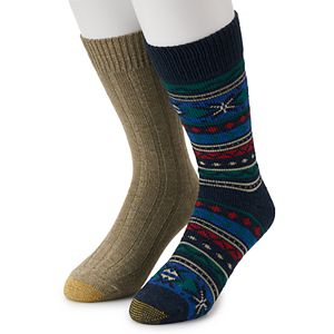 Men's GOLDTOE Lodge Collection 2pk Recycled Fairisle Crew