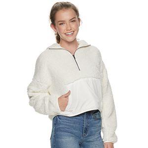 Juniors' SO Nylon Trim Sherpa Hoodie