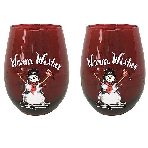 St. Nicholas Square® Yuletide 2-pc. Stemless Snowman Wine Glass Set