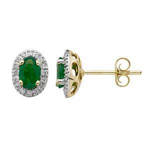 14k Rose Gold 1/6 Carat T.W. IGL Certified Diamond & Emerald Oval Earrings