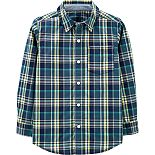 Boys 4-14 Carter's Plaid Poplin Button-Front Shirt
