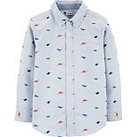 Boys 4-14 Carter's Striped Dinosaur Oxford Button-Front Shirt