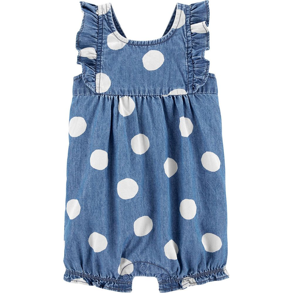 Baby Girl Carter's Polka Dot Chambray Romper