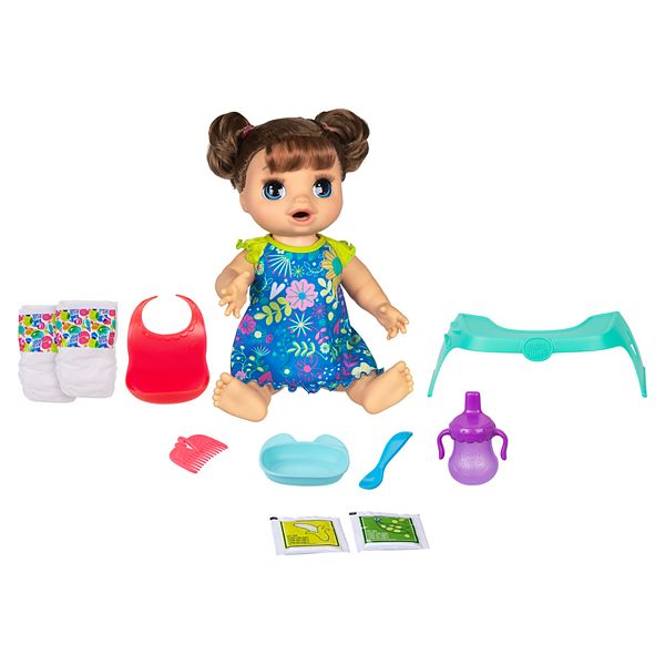 Girl S Baby Alive Happy Hungry Baby Brown Straight Hair Doll By Hasbro