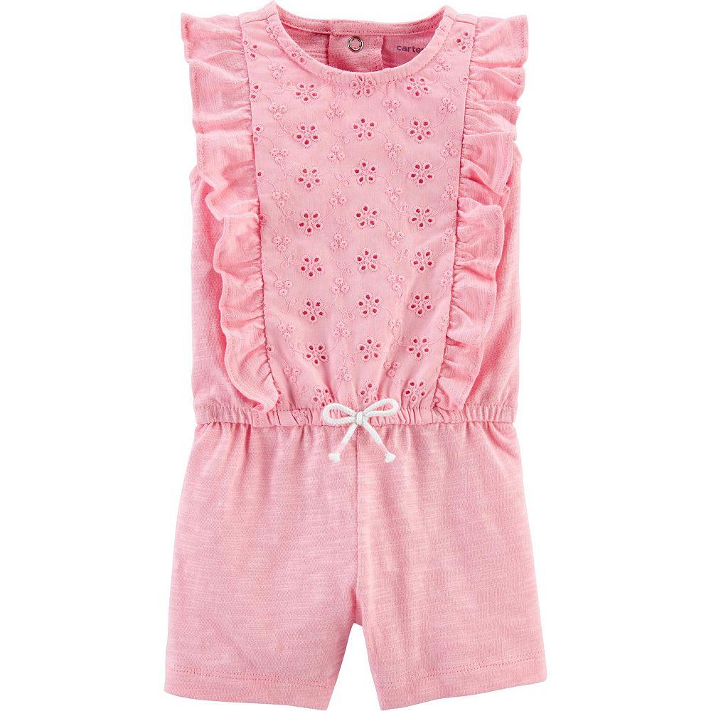 Baby Girl Carter's Floral Ruffle Slub Jersey Romper