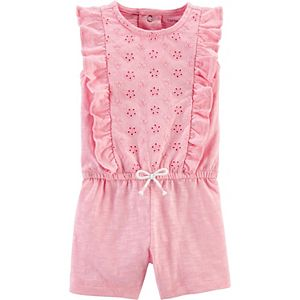 Baby Girl Carter's Floral Ruffle Slub Jersey Romper