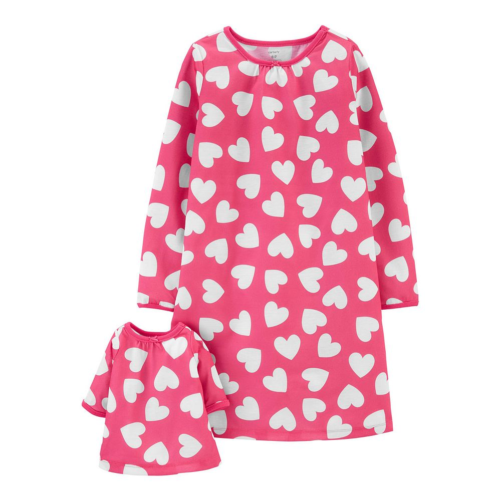Toddler Girl Carter's Hearts Matching Nightgown & Doll Nightgown Set