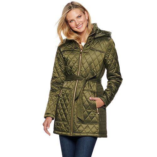 Women's Nine West Hooded Diamond-Quilted Belted Jacket