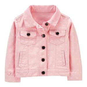 Baby Girl Carter's Polka Dot Twill Denim Jacket