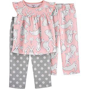 Toddler Girl Carter's 3 Piece Bunny Pajama Set