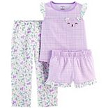 Toddler Girl Carter's 3 Piece Floral Gingham Pajama Set