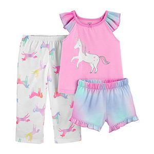 Toddler Girl Carter's 3 Piece Glitter Unicorn Pajama Set