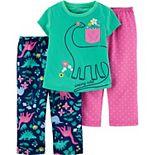 Toddler Girl Carter's 3 Piece Dinosaur Pajama Set