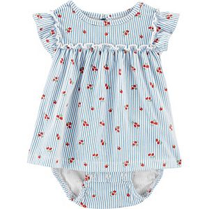 Baby Girl Carter's Striped Floral Jersey Sunsuit