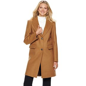Women's Nine West Single-Breasted Wool Blend Walker Jacket