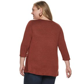 Plus Size EVRI Knot Front 3/4 Sleeve Blouse