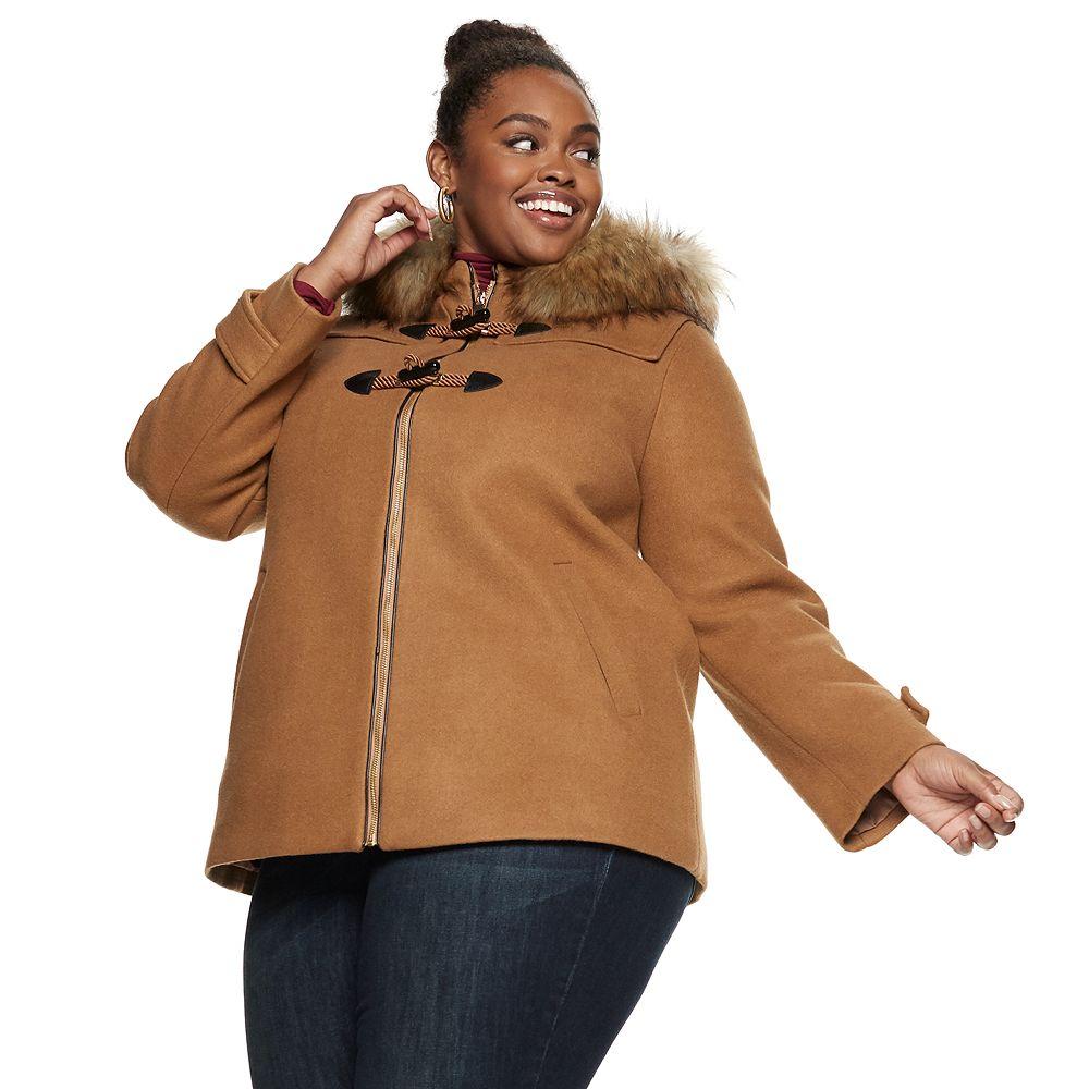 Plus Size Nine West Hooded Faux-Fur Trim Toggle Coat
