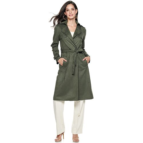 Women's Nine West Belted Faux-Suede Trench Coat