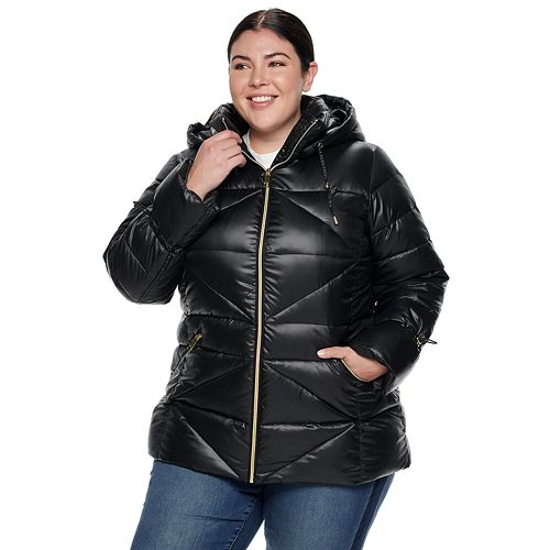 Plus Size Nine West Quilted Puffer Coat
