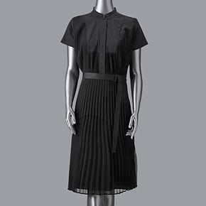 Women's Simply Vera Vera Wang Pleated Mixed Media Dress