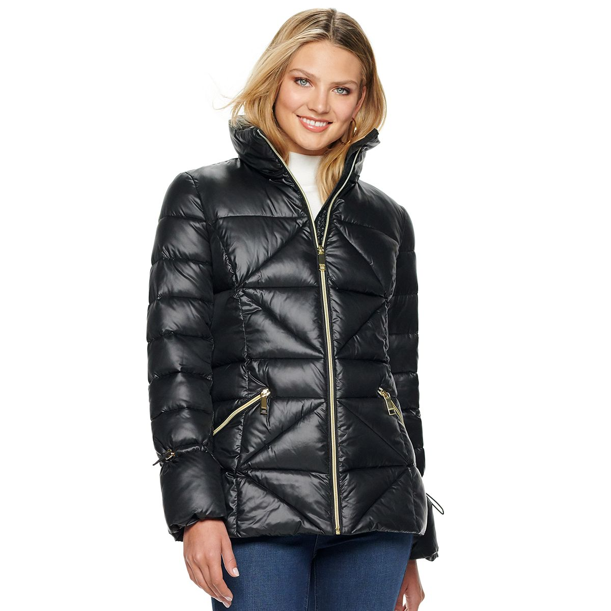 Women's Nine West Quilted Puffer Coat Olive PGCAm