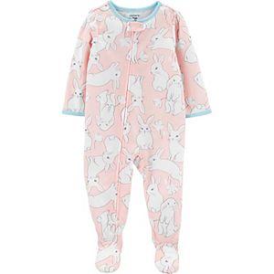 Baby Girl Carter's Bunny Zip Footed Pajamas