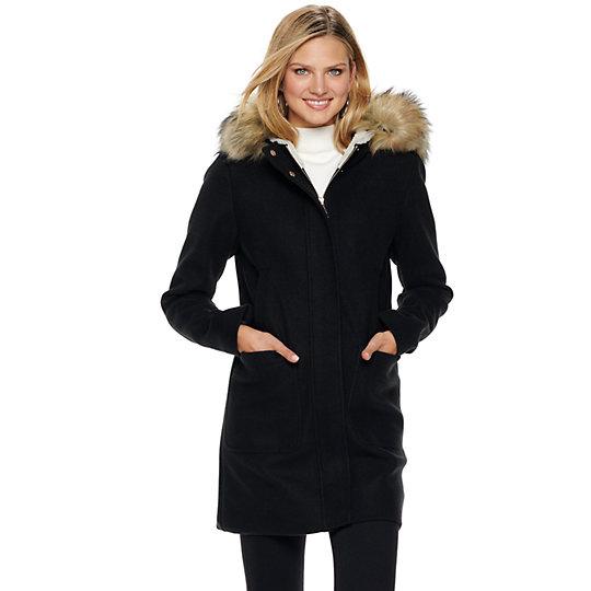 Women S Nine West Hooded Faux Fur Trim, Faux Fur Coat Hood Trim
