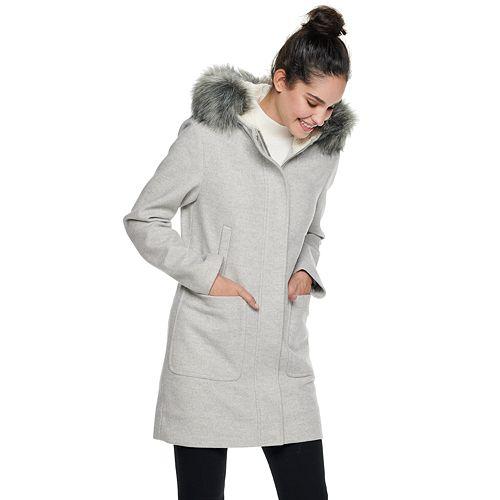 Size 18 Ladies Blue Coat Long Jacket Gold Zip Pockets Fur Trim Hood Parka Women
