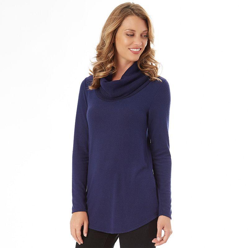 Women's Apt. 9 Fuzzy Cowlneck Tunic. Size: XS. Dark Blue