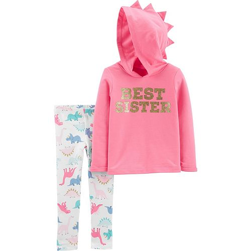Carters Baby Girl BFF with My Sis Top /& Microfleece Bottoms Pajama