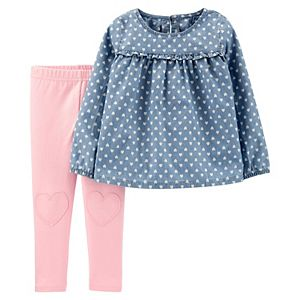 Carters Girls 2T-4T 2-Piece Dotted Flutter Sleeve Top and Leggings Set