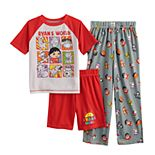 Boys' 6-8 Ryan's World Top, Shorts & Pants Pajama Set