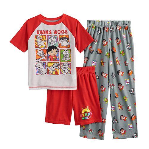 Boys' 6-8 Ryan's World Top, Shorts & Pants Pajama Set