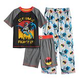 Boys 4-12 DC Comics Batman Top, Shorts & Pants Pajama Set