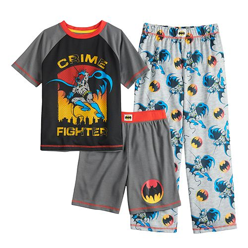 Boys 4-12 DC Comics Batman Top, Shorts & Pants Pajama Set