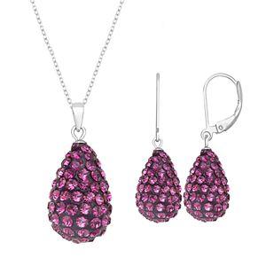 Silver Tone Briolette Drop Earring & Necklace Set