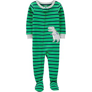Toddler Carter's Dinosaur Striped Zip Footed Pajamas