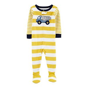 Toddler Boy Carter's Truck Striped Zip Footed Pajamas